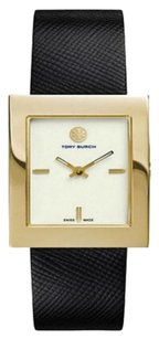 Tory Burch CLASSIC GOLD TONE/DIAL BLACK LEATHER WOMEN'S WATCH