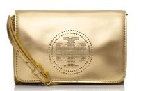 Tory Burch Perforated Logo Gold Clutch