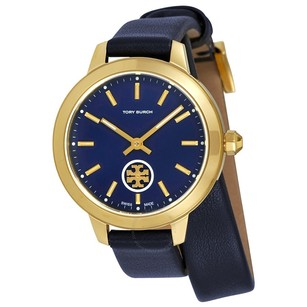 Tory Burch Collins Navy Blue Dial Double Wrap Ladies Watch