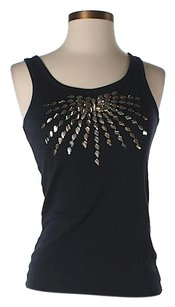 Tory Burch Embellished Metallic Top Black