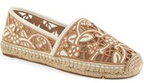 Tory Burch Lucia Lace Espadrille Ivory Natural Tan Mesh Beige Flats