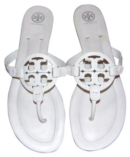 Tory Burch Miller Leather Thong Big Logo Women White Sandals