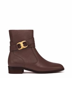 Tory Burch Gemini Bootie Coconut Brown Pebbled Leather Boots