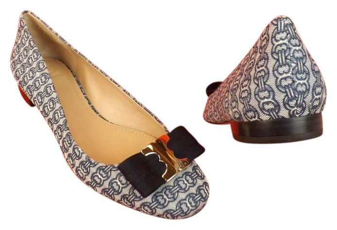 Tory Burch Gemini Chain Blue Print Canvas Gold Link Grosgrain Bow Flats Size US 8.5 Regular (M, B)