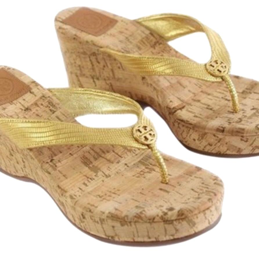 Tory Burch Gold-710 Style #12148383 Suzy Wedges Size US 7.5 Regular (M, B)