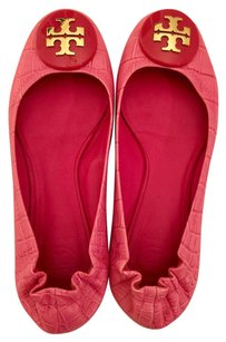 Tory Burch Gold Hardware Leather Pink Flats