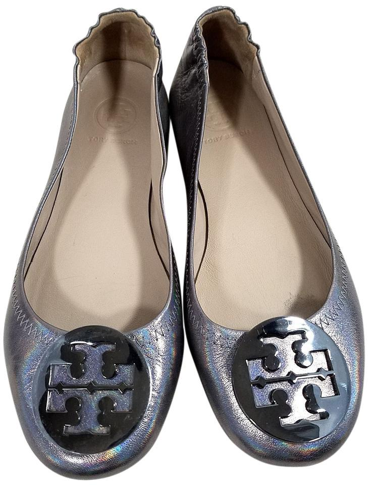Tory Burch Travel Ballet Tonal Logo Rubber Outsole T Logo Medallion Folds  In Half Gunmetal Metallic ...