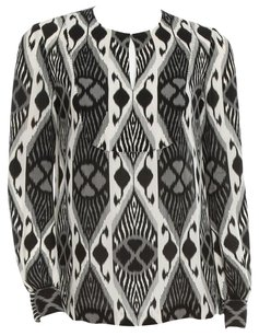 Tory Burch Ikat Print Silk Longsleeve Top Black, White