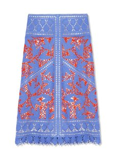 Tory Burch Lace Straight Pencil Skirt Blue