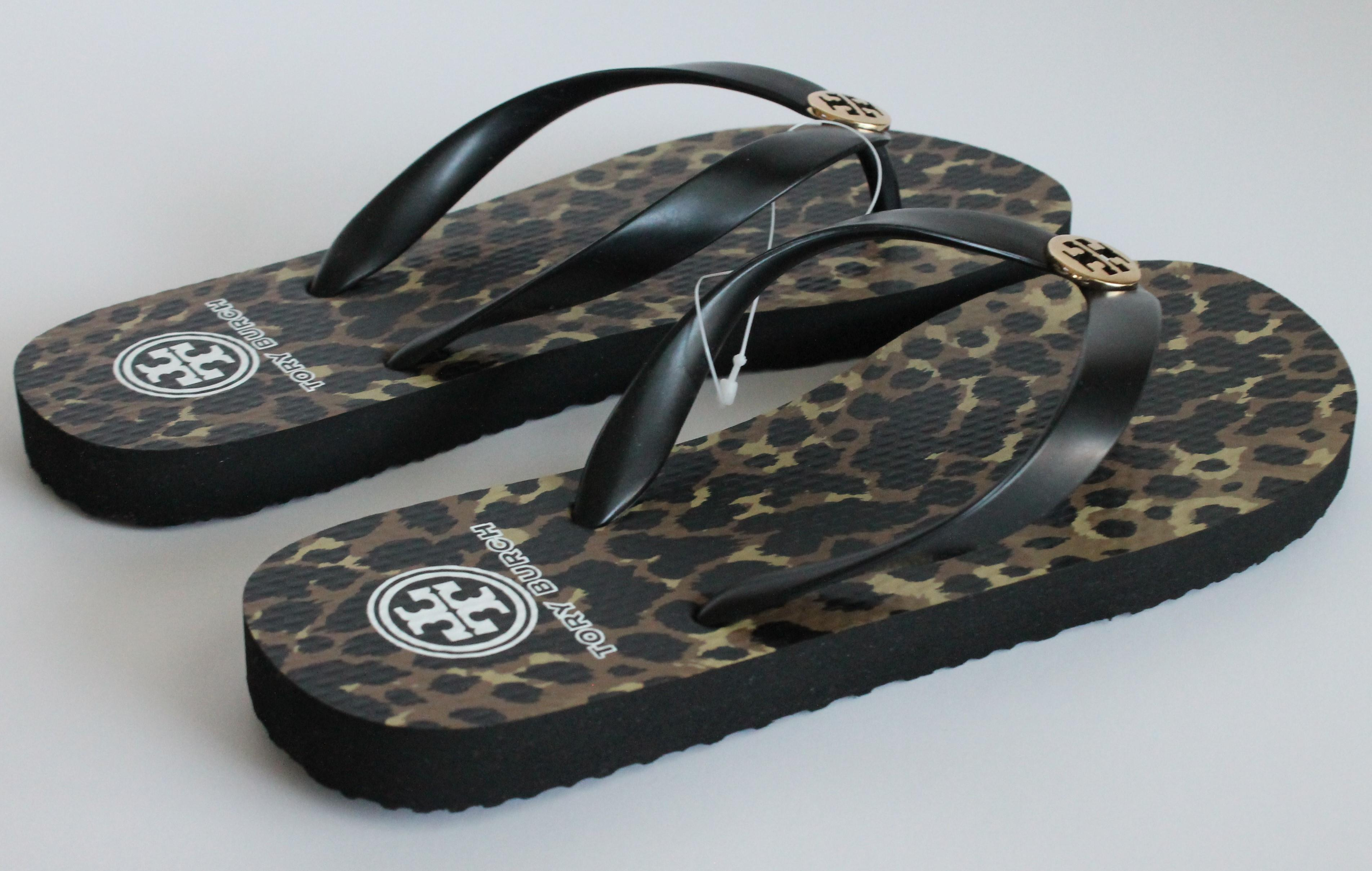 f9356c5d3e04 ... Tory Burch Leopard Black Brown Fleming Fleming Fleming Flat Leather Sandals  Size US 8 Regular ...