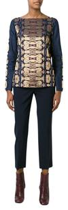 Tory Burch Metallic Printed Top Navy / Gold