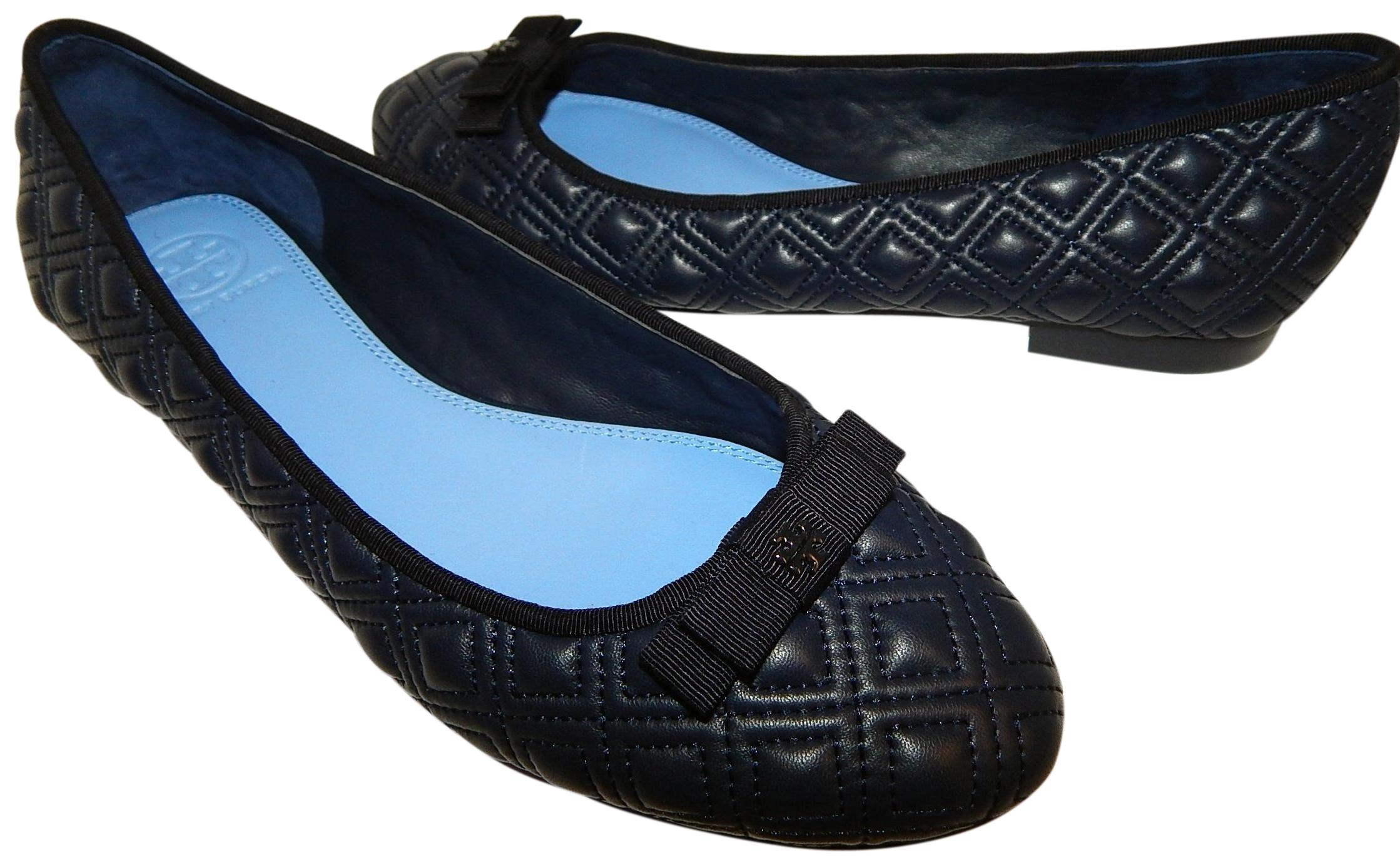 d4493c6a10bf4 ... real tory burch bryant ballet quilted navy blue flats 9f527 16ff6