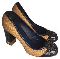 Tory Burch Navy Blue Raffia Pumps