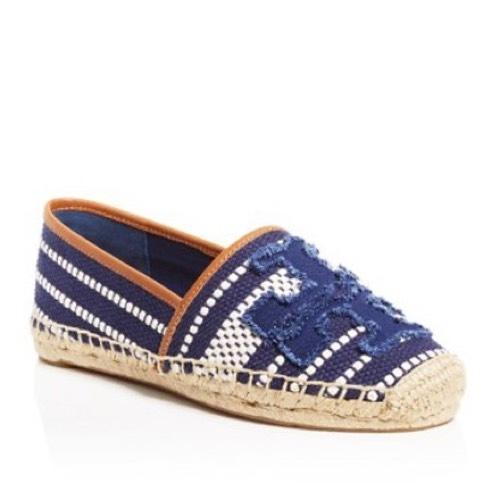 Tory Burch Navy Sea/Royal Tan Flats ...