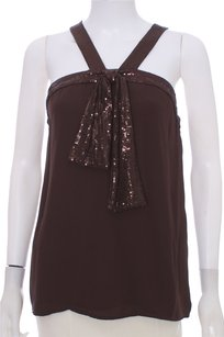 Tory Burch Nwt New Silk Sleeveless Sequin Top Brown