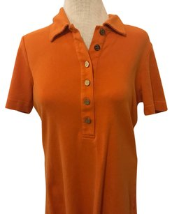 Tory Burch Designer Gold Logo Buttons Collar Short Sleeve T Shirt Orange