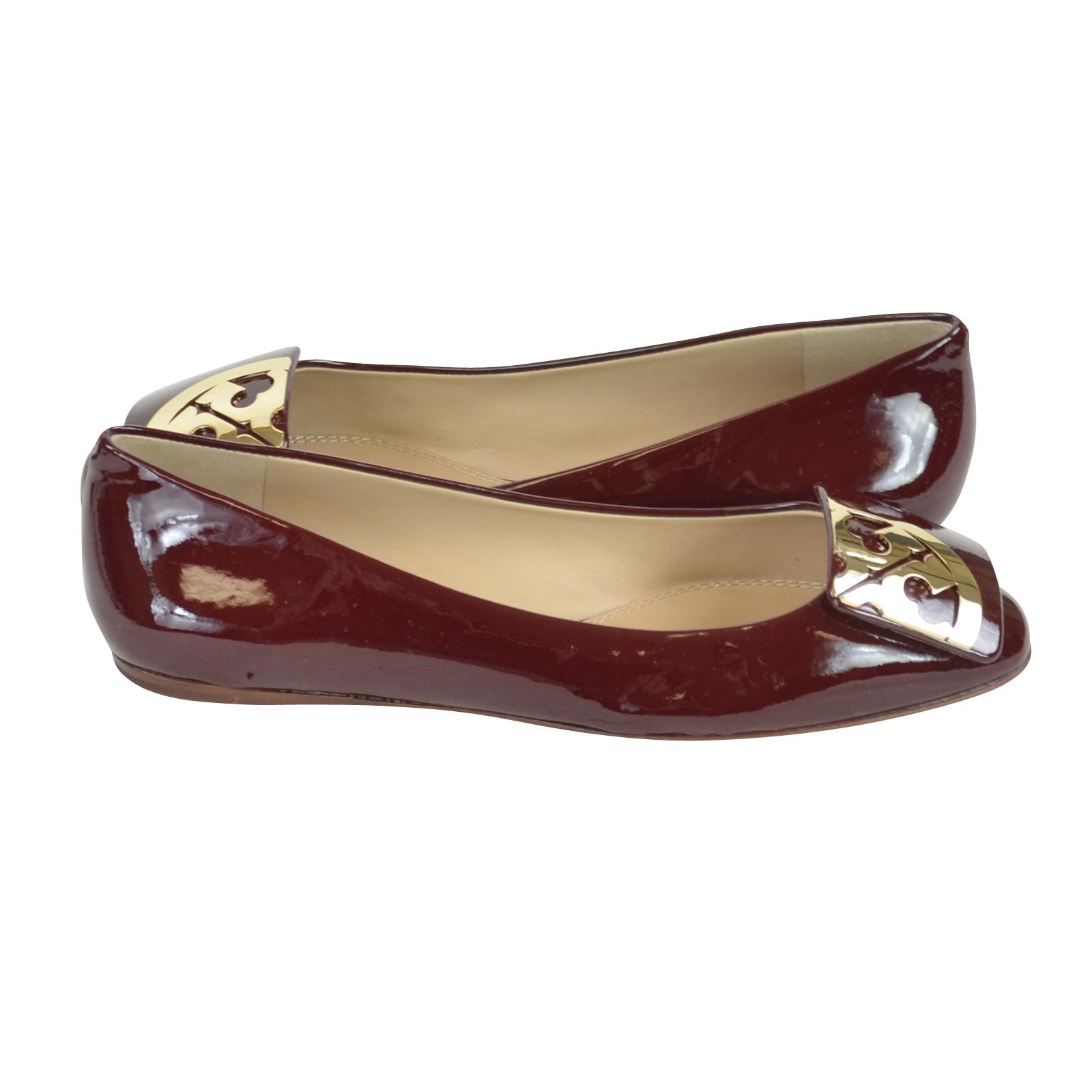 e07a26e27 ... Tory Burch Oxblood Square Toe Logo Logo Logo Patent Leather In Flats  Size US 8.5 Regular ...