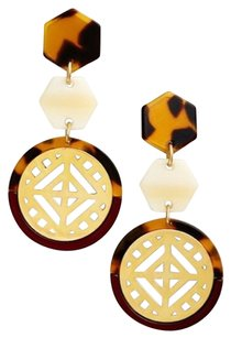 Tory Burch Perforates Charm Drop Earrings Gold Plated Brown Tortoise