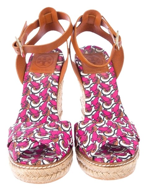 Tory Burch Frog Straw Lilypad Pink Wedges ...