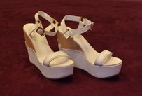 Tory Burch C0 Buckle Strappy Platform Wedge Ivory Sandals