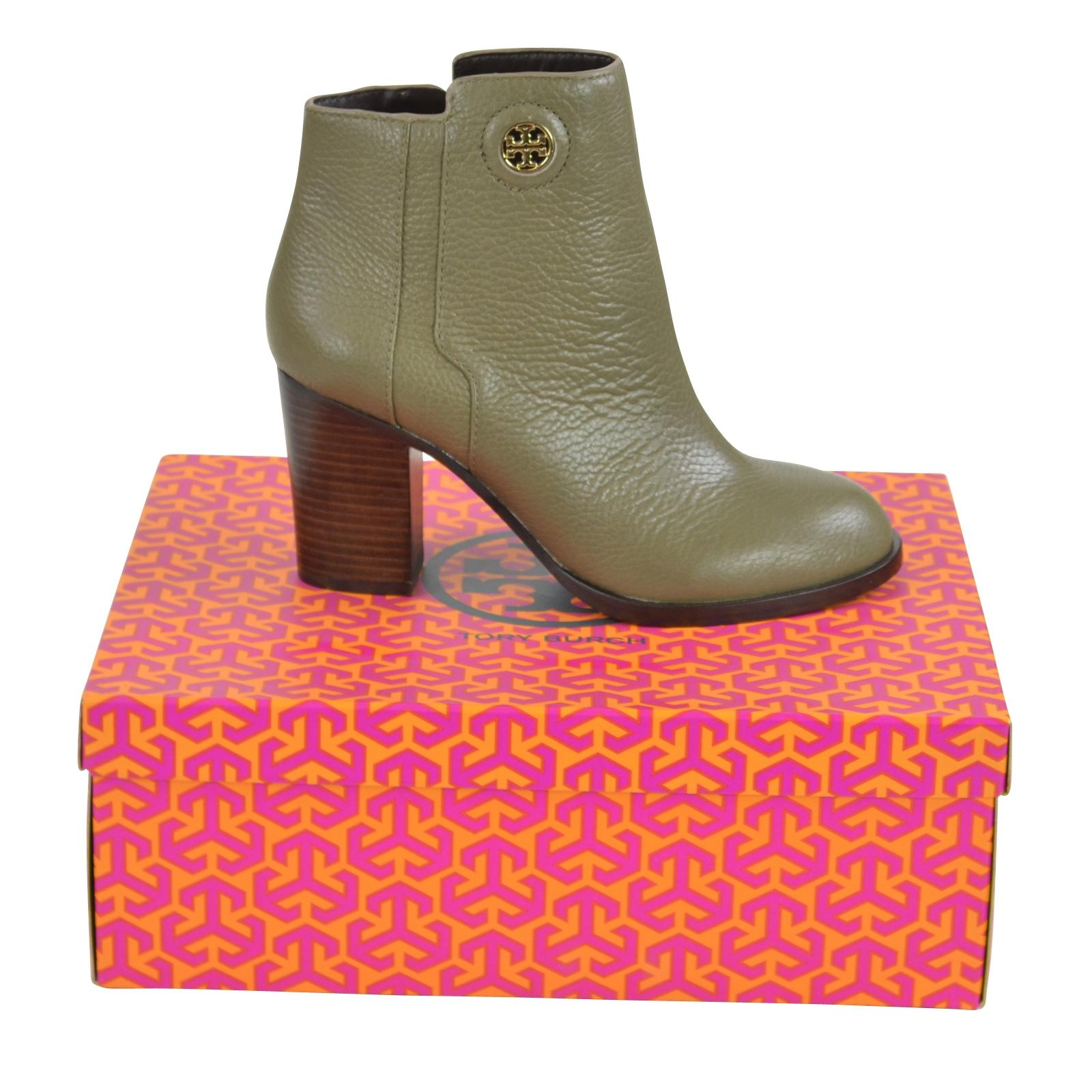 Tory Burch Porcini Junction 85 Tumbled Leather Boots/Booties Size US 8.5 Regular (M, B)
