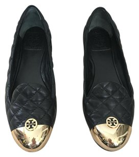 Tory Burch Quilted Leather Black and gold Flats