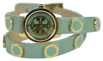 Tory Burch REVA MINI DOUBLE WRAP LEATHER GOLD WATCH TRB4014 Light Green