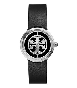 Tory Burch REVA WATCH, BLACK LEATHER/STAINLESS STEEL, 28 MM TRB4002