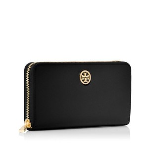 Tory Burch Robinson Multi-Gusset Zip Continental Black Saffiano Leather Gold Logo Wallet