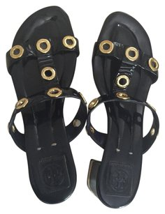 Tory Burch Sandals Gold Navy Blue Pumps