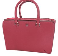 Tory Burch Robinson Saffiano Leather Triple Compartment Zip Satchel in Pink