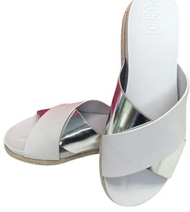 Tory Burch Monterey Two Tone Silver Flat Espadrille B3407 White Sandals