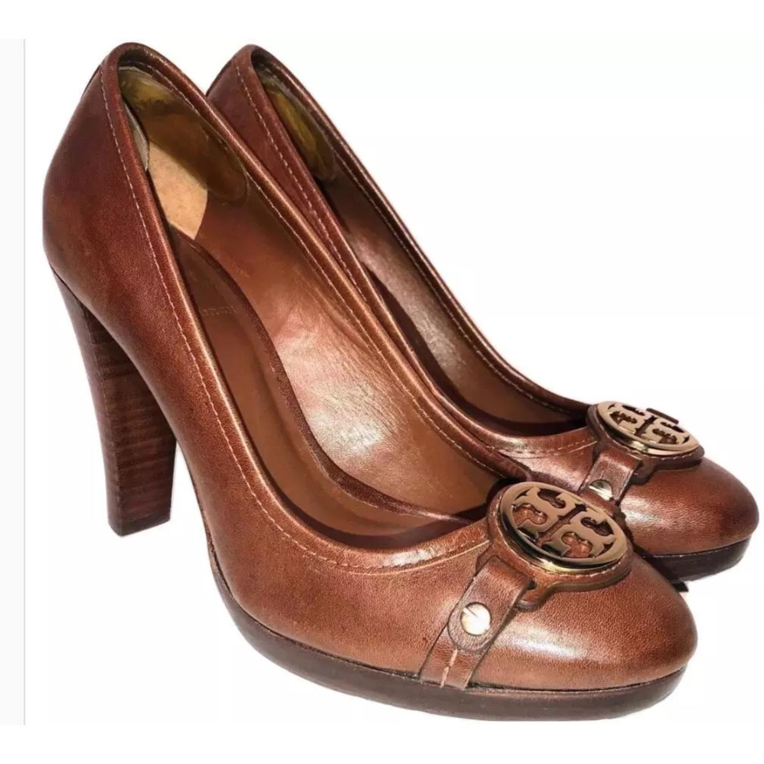 Tory Burch Tan Leather Pumps High Heels with 1/2
