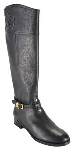 Tory Burch Texture Tumbled Leather Black Boots