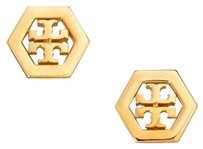 Tory Burch TORY BURCH LOGO HEXAGON STUD EARRINGS Gold