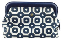 Tory Burch Tory Burch Navy Printed Canvas XL Cosmetics Bag
