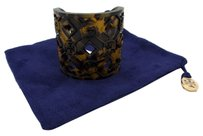 Tory Burch Tory Burch Perforated Resin Logo Cuff In Tortoise Color MSRP $68