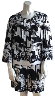 Tory Burch Tory Burch Black White Linen Abstract Print Blazer 2pc Skirt Suit Hs2813