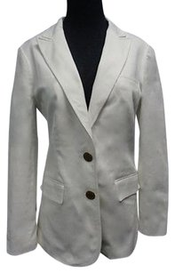 Tory Burch Tory Burch White Lined Cotton Blend Two Button Blazer Jacket Sma7219