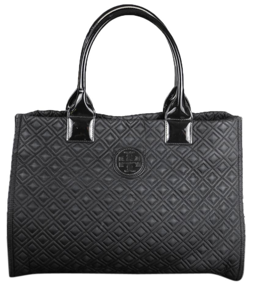 Tory Burch Mini Ella Quilted Black Tote Bag Totes On Sale