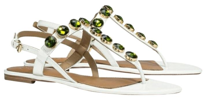 Tory Burch White & Green Mariah Thong Sandal Patent Leather. Flats Size US 10.5 Regular (M, B)