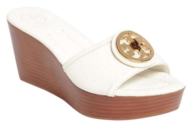 Tory Burch Leather Selma Signature Wood white Sandals ...