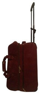Toscane Luggage Leather Italian Burgandy/Carmel Travel Bag