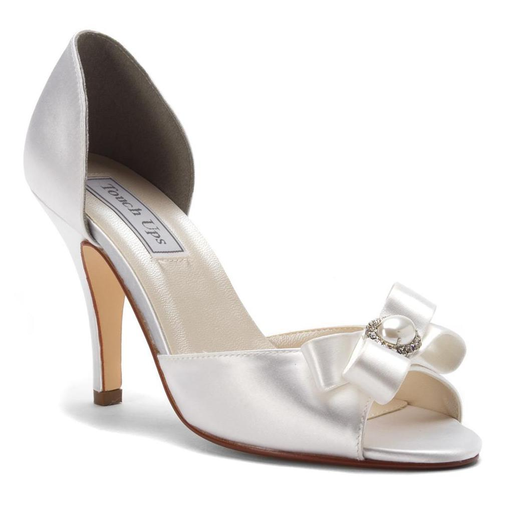 Superb Touch Ups White Gloria Du0027orsay Soft Satin Bridal Heels M Pumps Size US 7