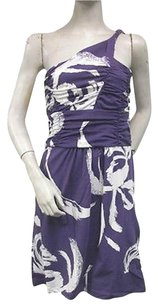 Tracy Negoshian White Zahra One Ruched Violet Dress