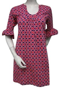 Tracy Negoshian Mari Red Navy Blue Floral Geometric Bell Sleeve Dress