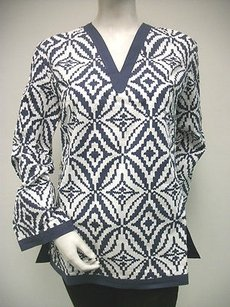 Tracy Negoshian Maria Navy White 100 Cotton Tunic