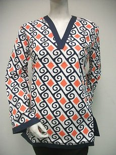 Tracy Negoshian Michelle Navy Blue Orange White 100 Cotton Tunic