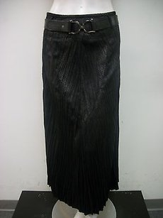 Tribal Belted Faux Leather Snake Velvet Texture Crinkle Skirt Black
