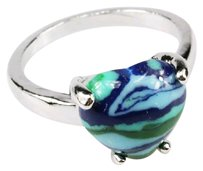 Tribal Eclectic Vintage White Gold/Silver Tone Heart Malachite Turquoise Ring